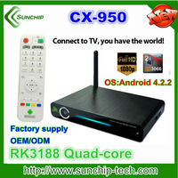 Hottest stock 2gb ram 16gb rom rk3188 quad core 1.8ghz android 4.2 quad core mini pc smart tv box with BT rj45 slot