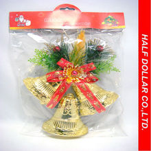 high quality golden plastic christmas bell ornaments
