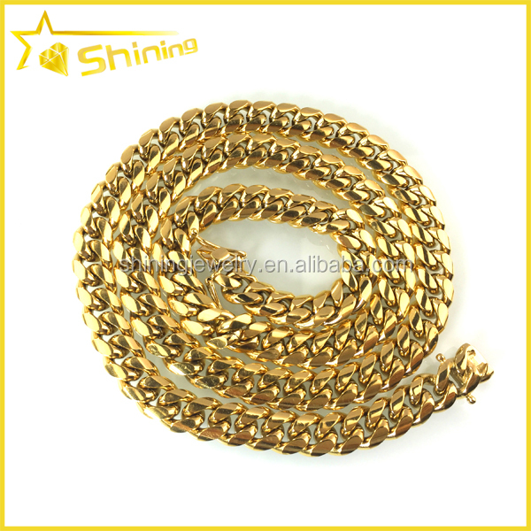 mens gold plated plain design miami thick cuban link chain