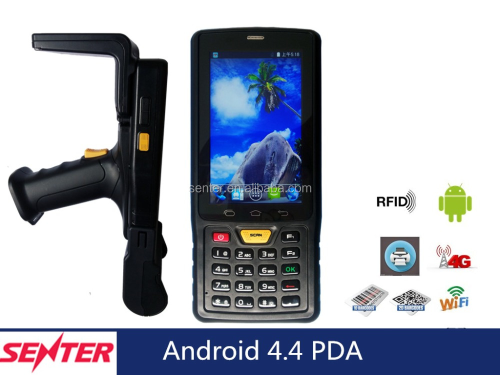 4'' Rugged Mobile Handheld Wireless Barcode Scanner Pda With Printer Wifi 3g /4g Quad core Android 4.4 OS