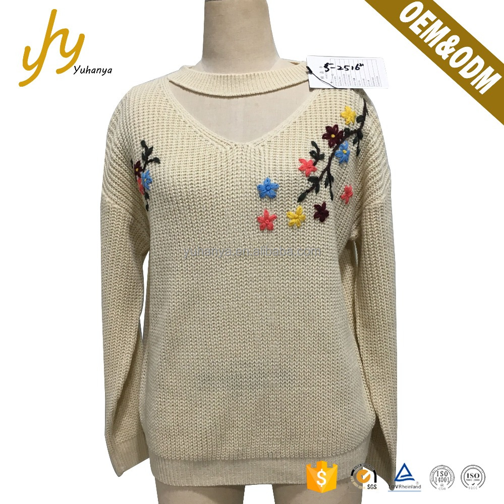 Fashion V Neck Hand Embroidery Apricot Latest Design Ladies Sweater