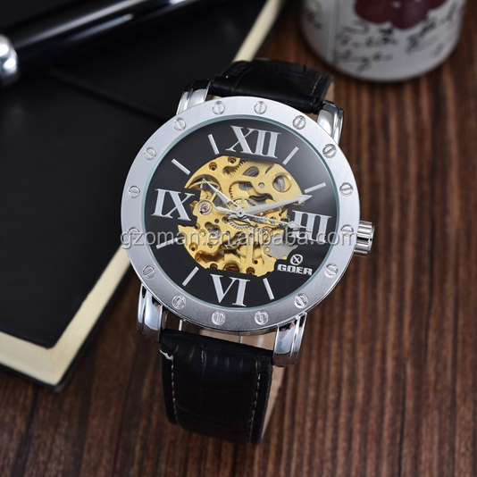 latest big roman number dial men watches automatic mechanical skeleton clock