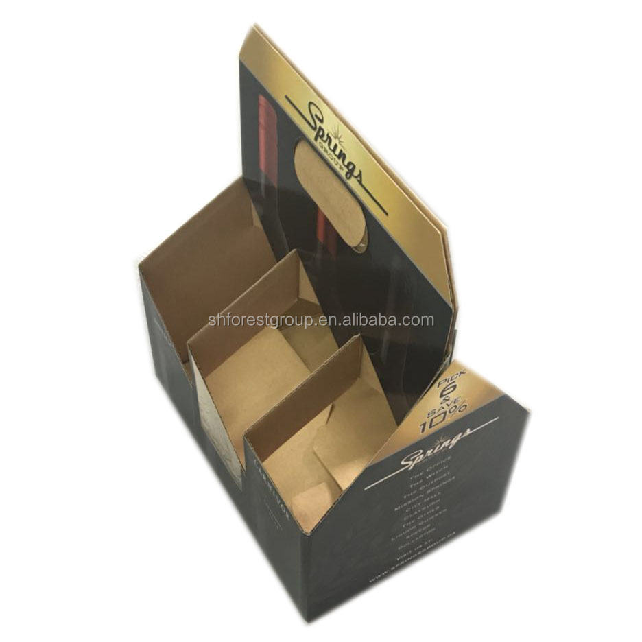 330-750ml HANDLE 6 BOTTLES CORRUGATED PAPER CARRIER WITH CUSTOM DESIGN ON SALE