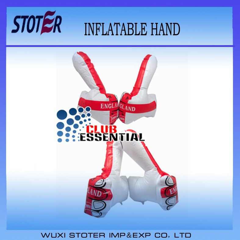 OEM logo printing hot sale pvc inflatable supporter hand , inflatable thumb