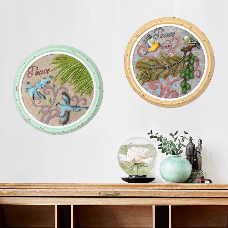 Roogo new products Chinese antique handicraft round disk birds art <strong>wall</strong> painted hanging