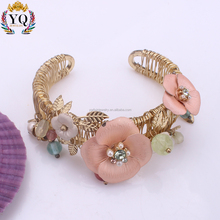 xBLX-00392 exquisite open fine enamel bangle candy color flower leaf gold wire bangle wrap bracelet with glass beads fake pearl