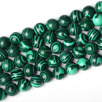 Wholesale gemstone rough malachite round natural malachite beads 8mm
