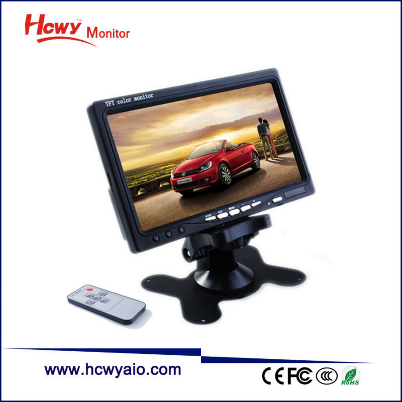 "Cheap Portable 7"" TFT LCD Car Monitor TV With DC Powered 12 Volt"