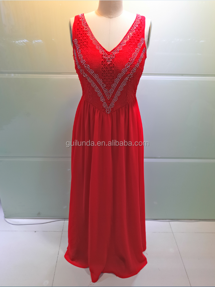 Red Women Fashion V Neck Sexy Long Evening Dress With Stone Gowns Elegant Homecoming Dress