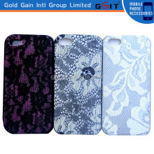 For iPhone 5 Silicon Case With Lace Fabric Design