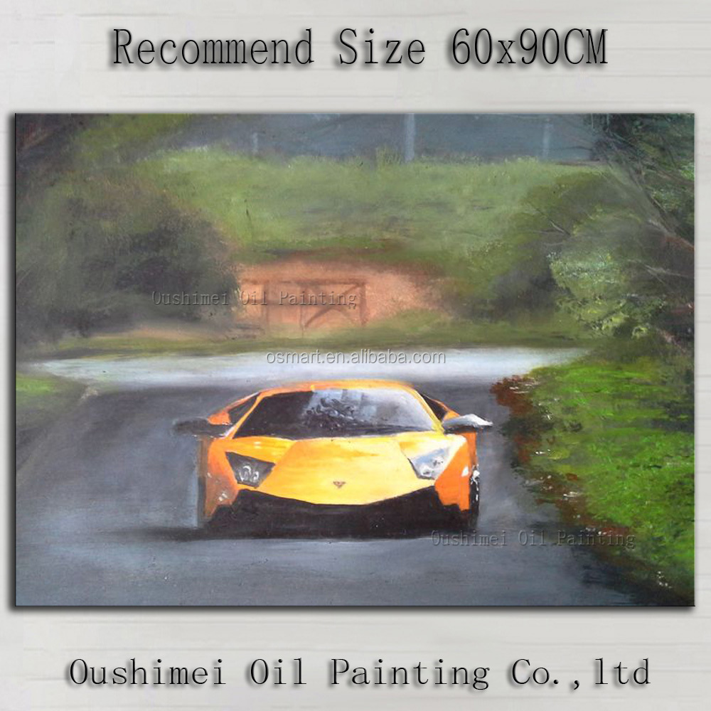 Manufacturer Wholesale High Quality Impression Super Racing Car Oil Painting On Canvas Sports Car Driving Road Oil Painting