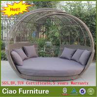 Outdoor leisure sun bed garden furniture rattan daybed