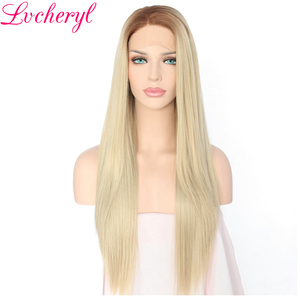Lvcheryl Ombre Dark Roots Blonde Color Long Straight High Temperature Fiber Hair Hand Tied Synthetic Lace Front Wigs For Women