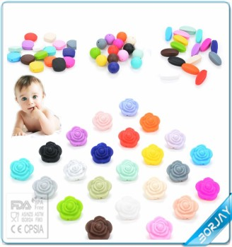 Wholesale food grade silicone teething beads FDA baby CE teether toy