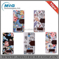 Phone accessories Floral pattern PU leather wallet case with stand, For iphone 6 or For iphone 6 plus, 5 colors