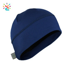 Custom Fleece Running Beanie Hat Logo Solid Color Blue Outdoor Double Layered Beanie Hats and Cpas