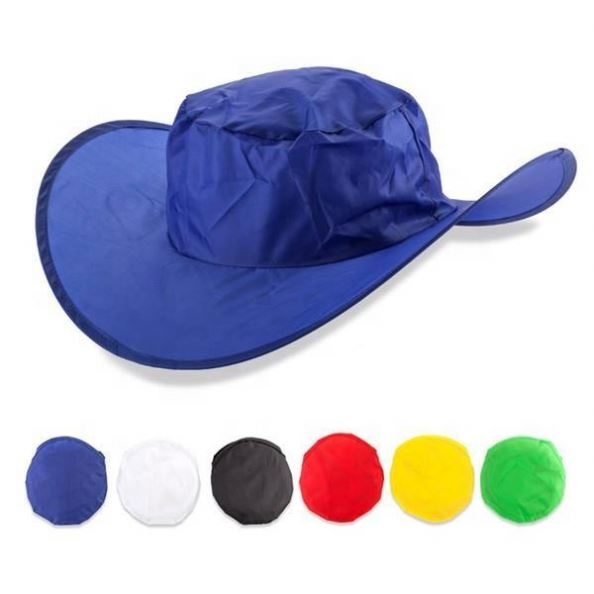 Customized foldable go out polyester <strong>hat</strong>/ Nylon Folding Factory Directly Supply Cowboy <strong>Hat</strong> Cap With Pouch