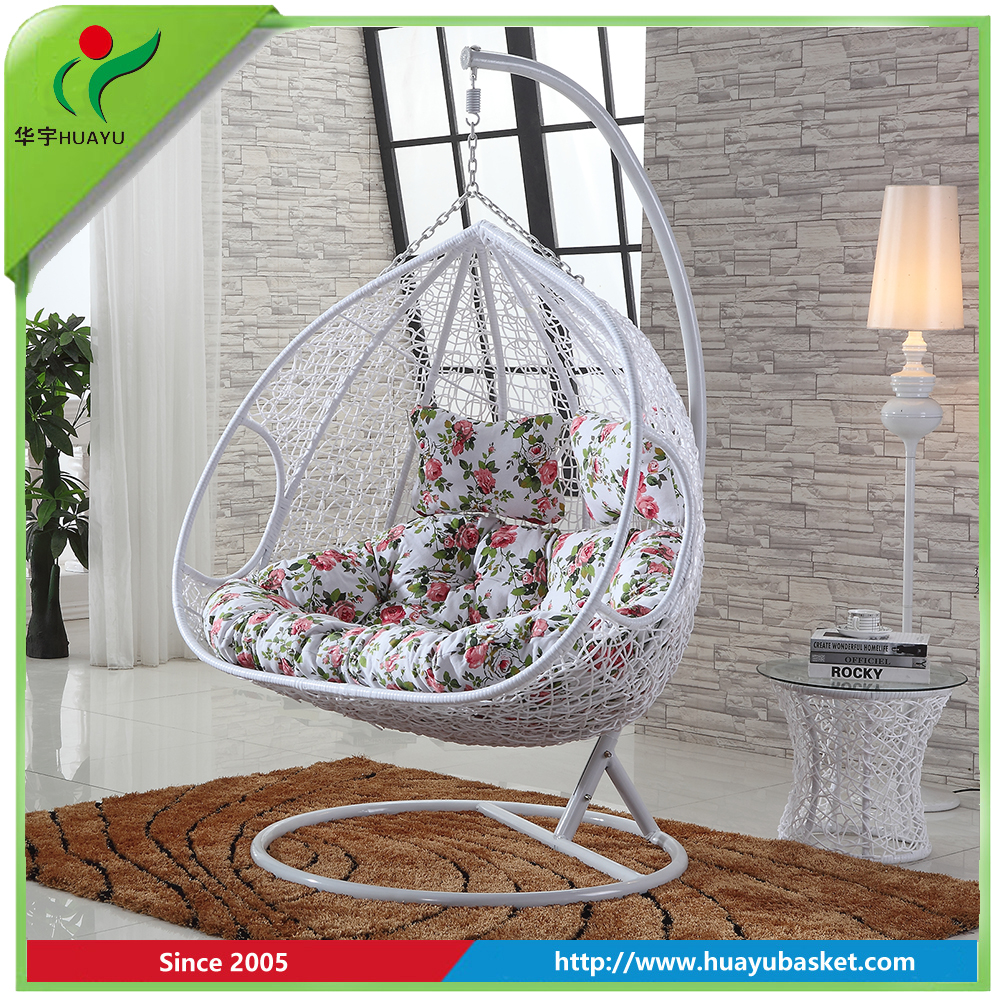 Popular rattan wicker double seat hanging egg swing chair with metal stand