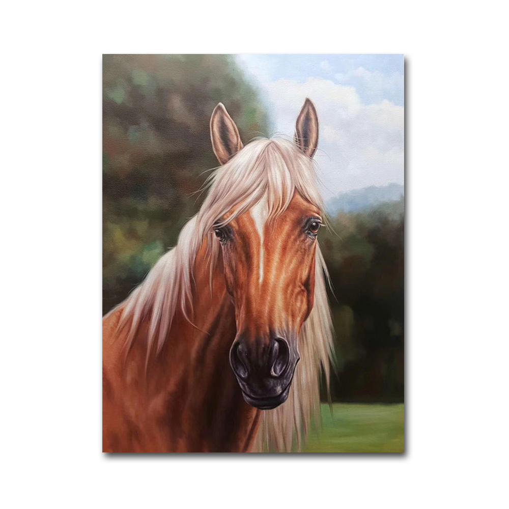 Hand-painted Animal Head Wall Decoration Horse Oil Painting
