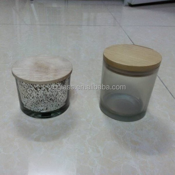 Fading Electroplating Plating Cylindrical Cylinder Glass Candle Jar with Wood Lid
