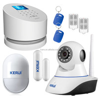 Kerui W2 TFT Color Display wireless WIFI PSTN GSM SMS night vision home burglar security indoor camera alarm system