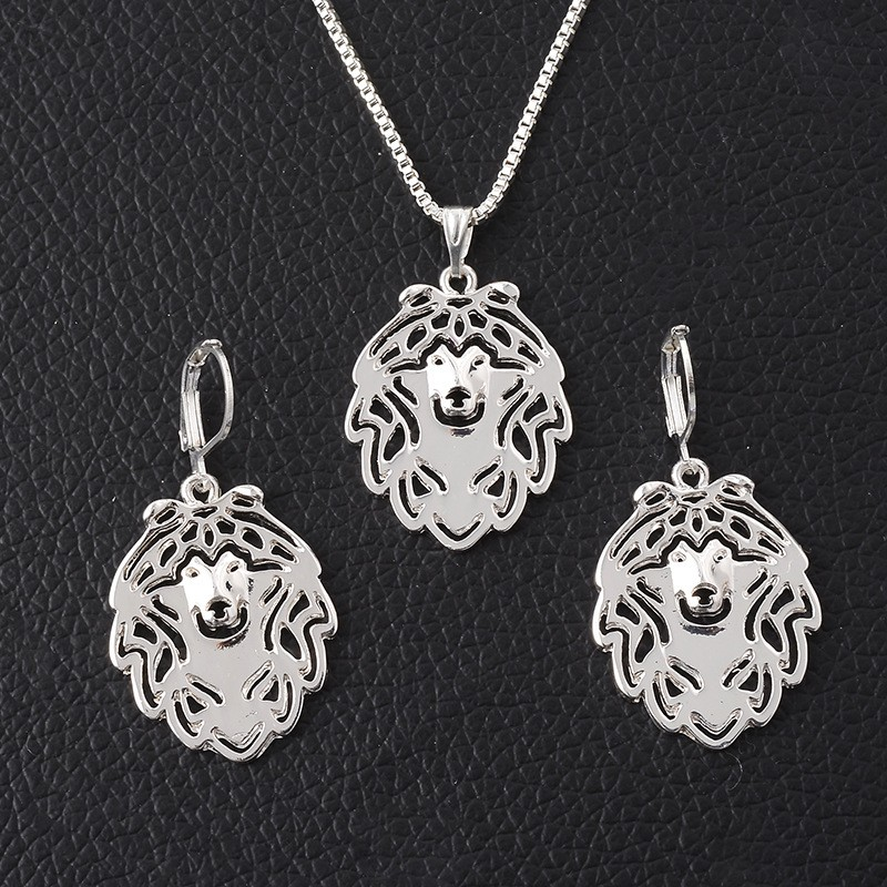 Pet Dog Necklace Earring Set,France Bulldog Pendant Puppy Jewelry Sets