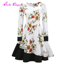 Factory Price floral long sleeves cotton clothes big size woman formal dress