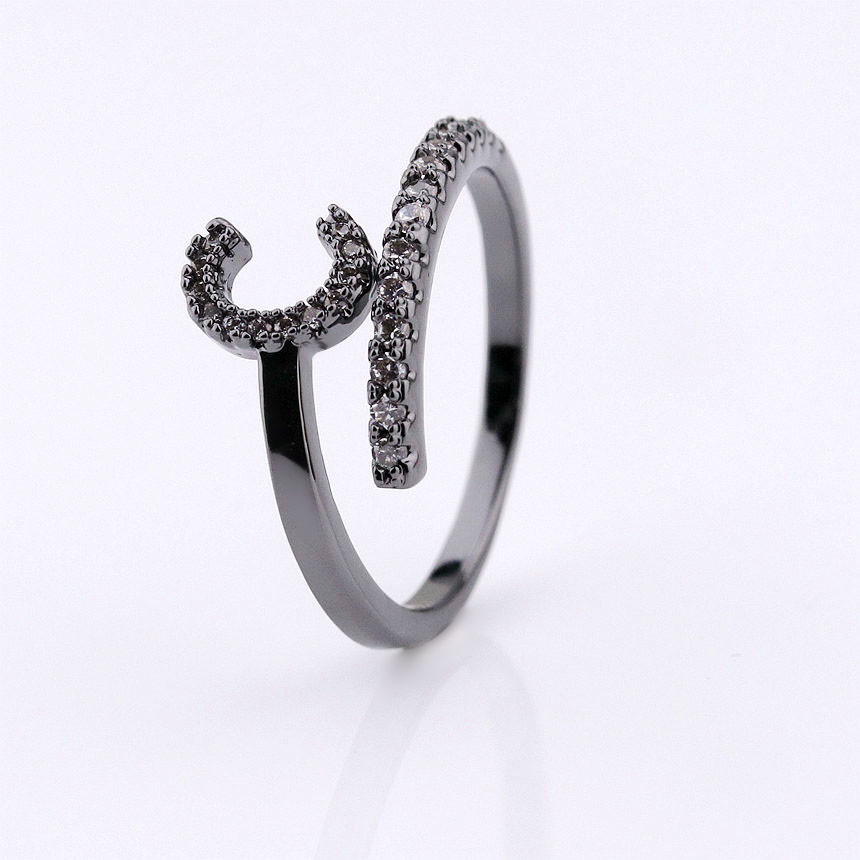 wuzhou foxi 2018 trending products gold black gold initial letter jewelry rings