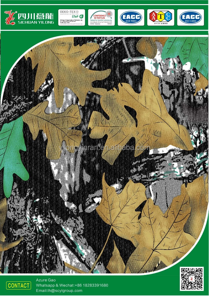 Polyester/Cotton blended T65/C35 300gsm 3/1 twill fabric pigment-printed with Leaves camouflage/tree camouflage