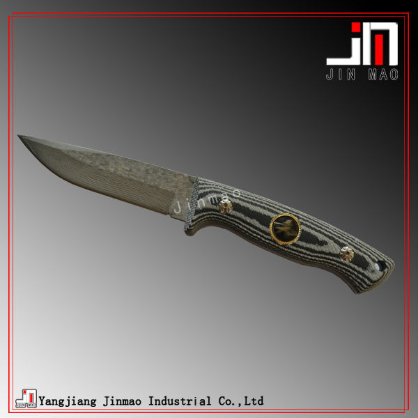 Best Quality Sharp Blade Damascus Steel Hunting Knife with Micarta Handle