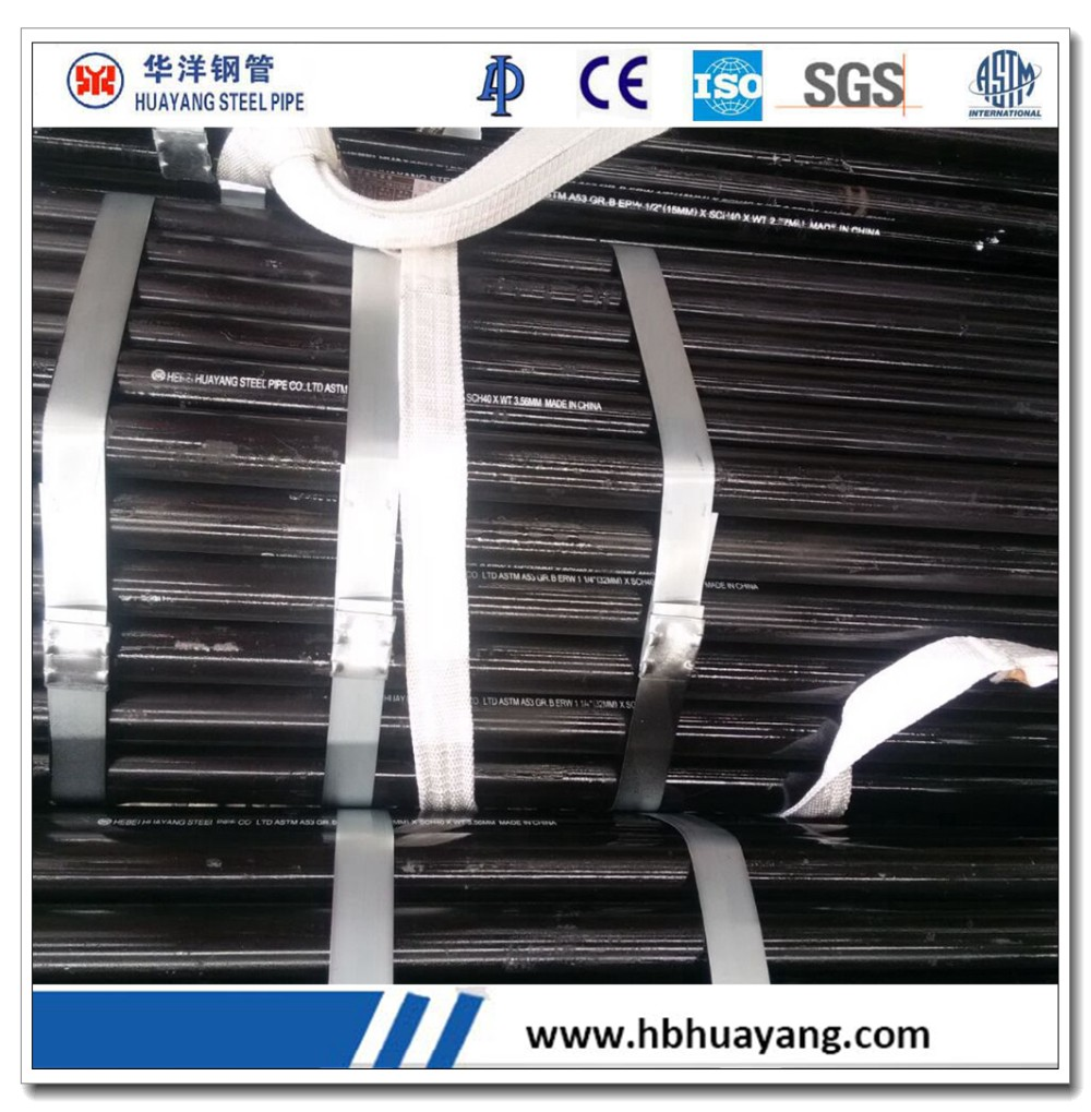 Erw round pipes carbon steel API 5L black painting