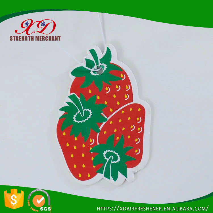 Custom Design Cotton Paper Strawberry Car Air Freshener with Double Printing