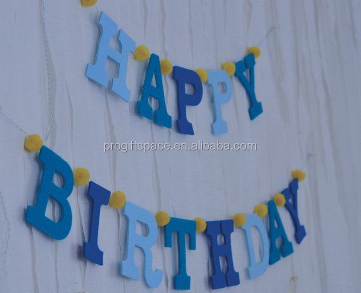 2017 new fashion hotsale handmade wholesale cheap custom fabric letters craft party supply kid decor felt happy birthday banner