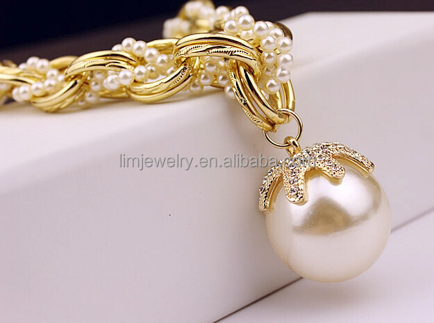 Large pearl pendant necklace,braided gold chain and pearl necklace