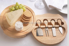 High quality elegant wooden cheese board set with 4 piece cheese tool set