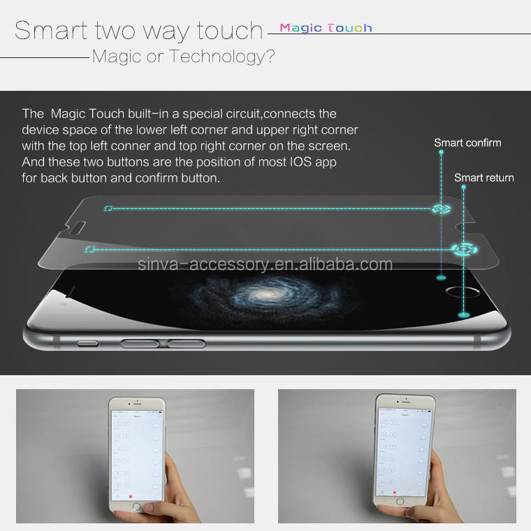 Top brand Sinva new technology smart glass screen protector for iPhone 6 with smart return key glass screen protector