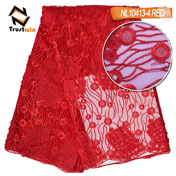 Small flower red african tulle lace with beads