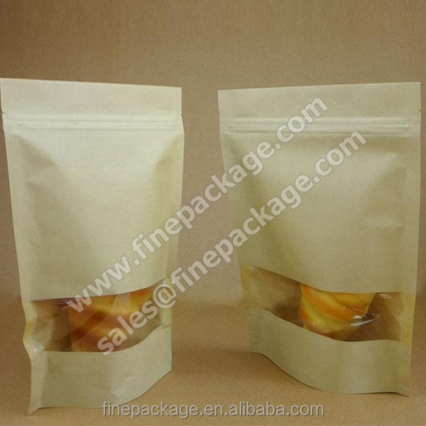 craft paper stand up zipper bags with clear window/ doy pack