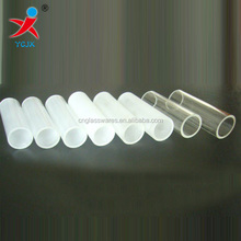 mouth blown white glass tubes / clear tubes in glass