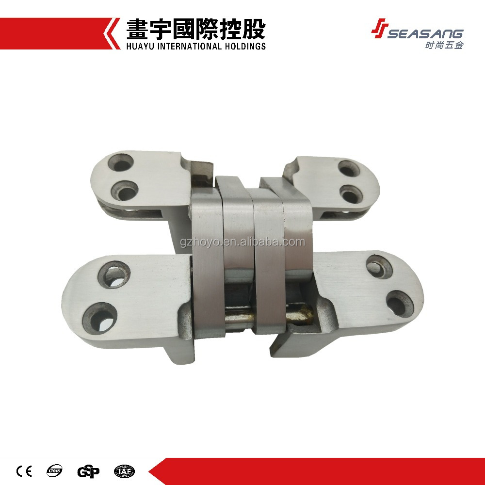 Stainless steel cross concealed hinge furniture hardware 40kg load capacity solid core hinges for wooden, steel, folding doors