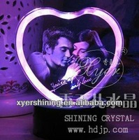 Upscale 3d laser crystal wedding gifts engraved heart shape
