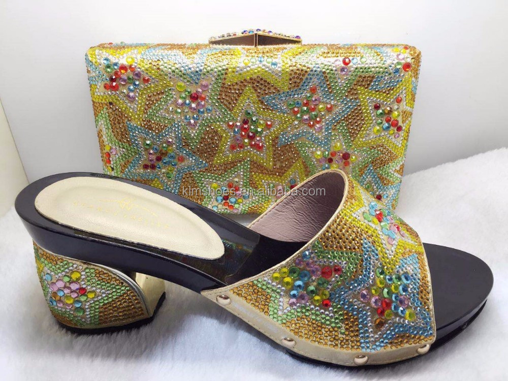 New Gold Color African Woman Italian Shoes And Bag Set/Decorated With Rhinestone African Shoe And Bag Set/ Women Dress Shoe TT20