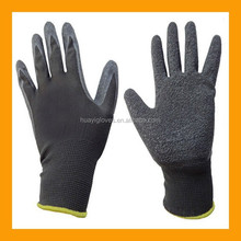 Black Latex Work Gloves Safety Rubber Palm Grip Nylon Liner Gloves