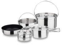 Portable stainless steel camping pots outdoor cookware