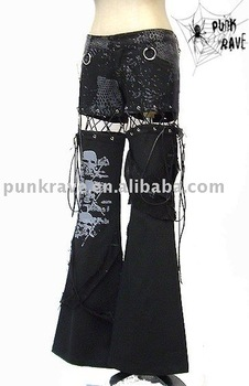 PUNK RAVE Gothic unisex black trousers K-060