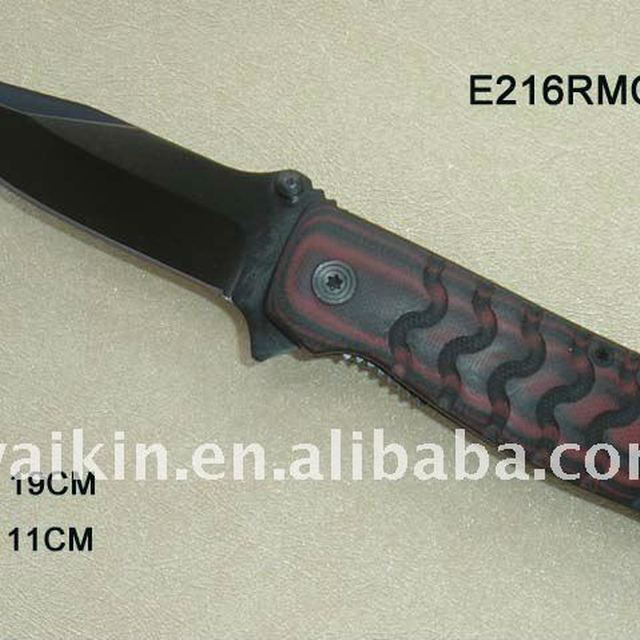 Folding blade black finished tactical Knife