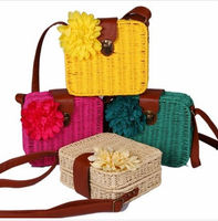 D70708W RETRO-STYLE STRAW PLAITED ARTICAL GIRLS HANDBAGS