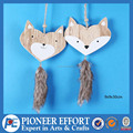 Wooden Christmas Heart shape Fox Hanging Ornament with plush