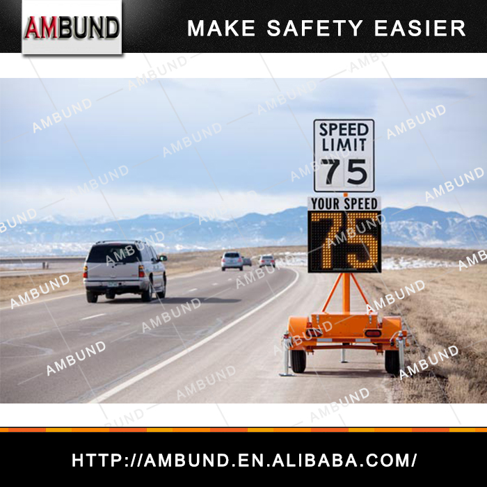 Compact Radar Speed Trailer Traffic Flashing Radar Speed Limit LED Signs Solar Radar Speed Sign