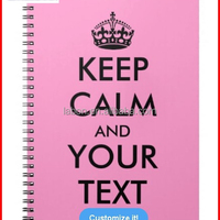 Customize Pink Keep Calm Notebooks For